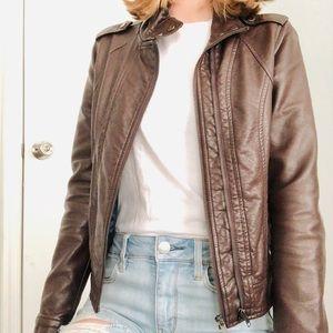 Francesca's Brown Vegan Leather Jacket